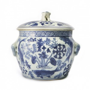 Blue and White Urn with Animal Lid