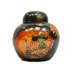 Black Urn with Orange Flower
