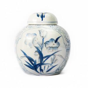 White Blue Floral Urn