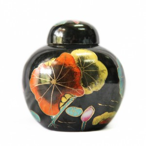 Black Urn with Lotus Ornaments