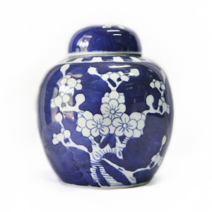Blue Urn with White Flower
