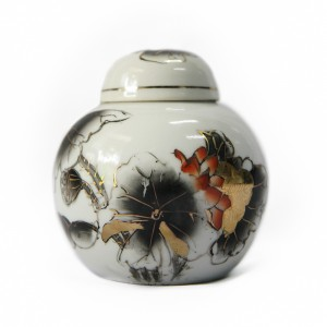 White Urn with Black Lotus Ornaments